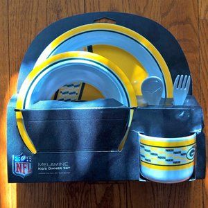 New NFL Packers Fan Kids Dinner Set